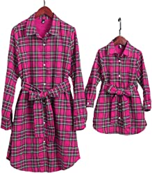 507f3939 PopReal Mommy and Me Plaid Self Tie T-Shirt Dress Family Matching Clothes