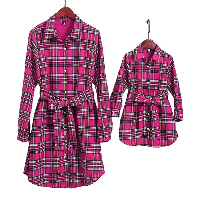 6df8e5884e Image Unavailable. Image not available for. Color: PopReal Mommy and Me  Plaid Self Tie T-Shirt Dress Family Matching Clothes