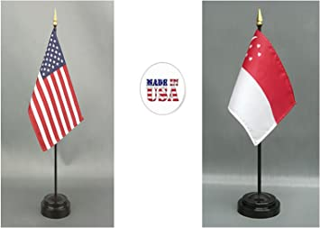 1 American and 1 Senegal Rayon 4x6 Miniature Office Desk /& Little Hand Waving Table Flag Made in The USA Includes 2 Flag Stands /& 2 Small 4x6 Mini Stick Flags