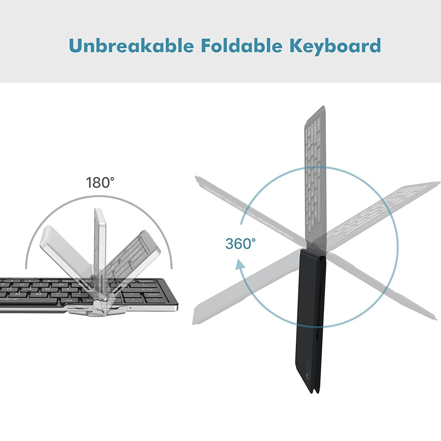 iClever Wireless Folding Designed, Ultra Slim Rechargeable Bluetooth Keyboard for Windows iOS Mac Android Tablets Smartphones, Gray (IC-BK06) by iClever (Image #6)