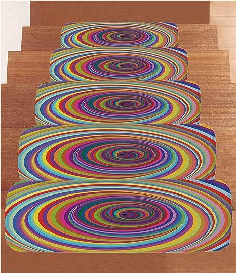 5f2e6a688bd7 iPrint Coral Fleece Stair Treads,Rainbow,Hypnotic Rainbow Colored Vortex  Hypnotic Effect Optical Illusion