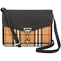 Burberry Mini Leather and Vintage Check Crossbody Bag- Black