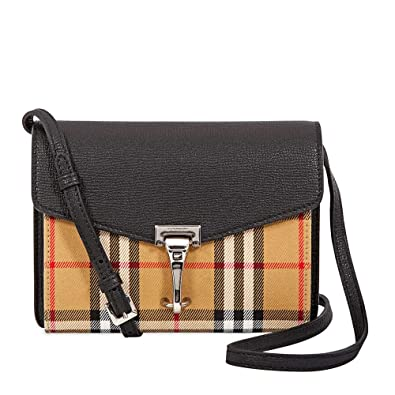 e444e21d042c Burberry Mini Leather and Vintage Check Crossbody Bag- Black ...