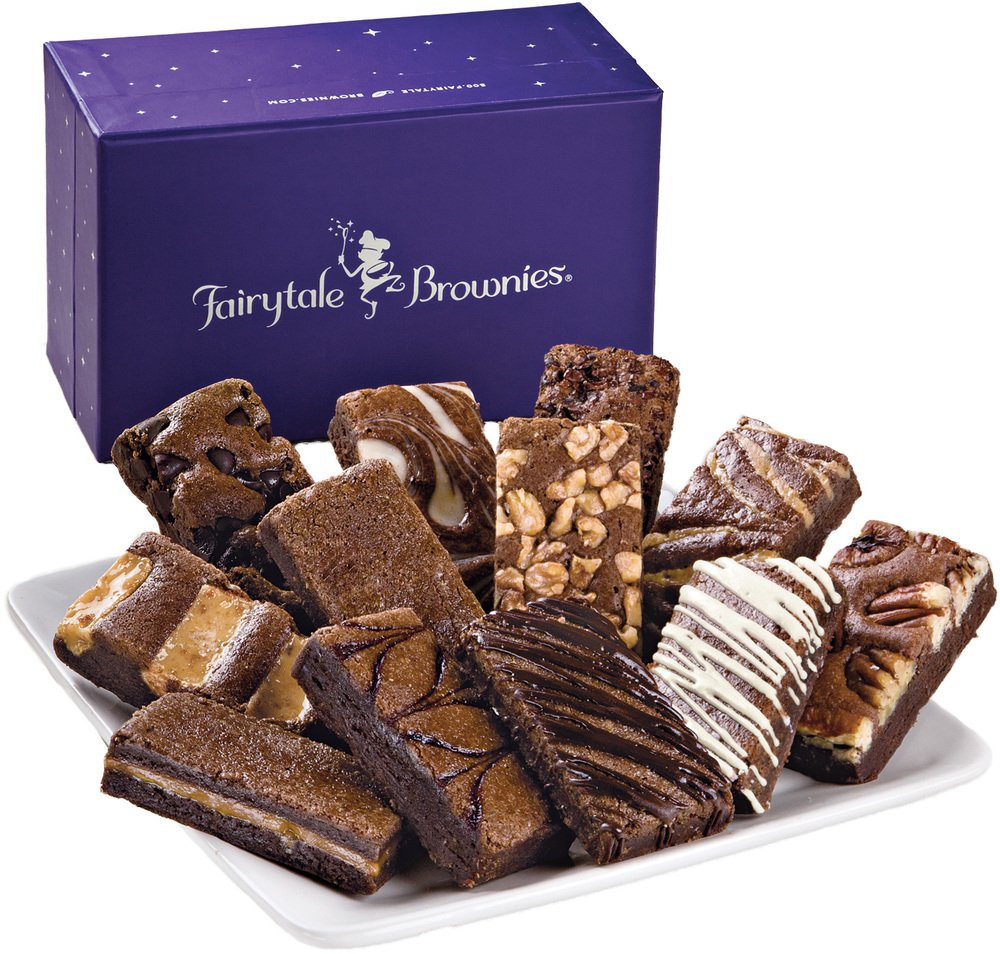 Fairytale Brownies Sprite Dozen Gourmet Food Gift Basket Chocolate Box - 3 Inch x 1.5 Inch Snack-Size Brownies - 12 Pieces