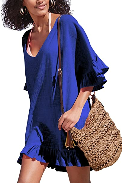 c5dc7b08dd0b Golden life Women s Cotton Bathing Suit Swimwear Beach Cover Ups Summer  Dress (Blue) at Amazon Women s Clothing store