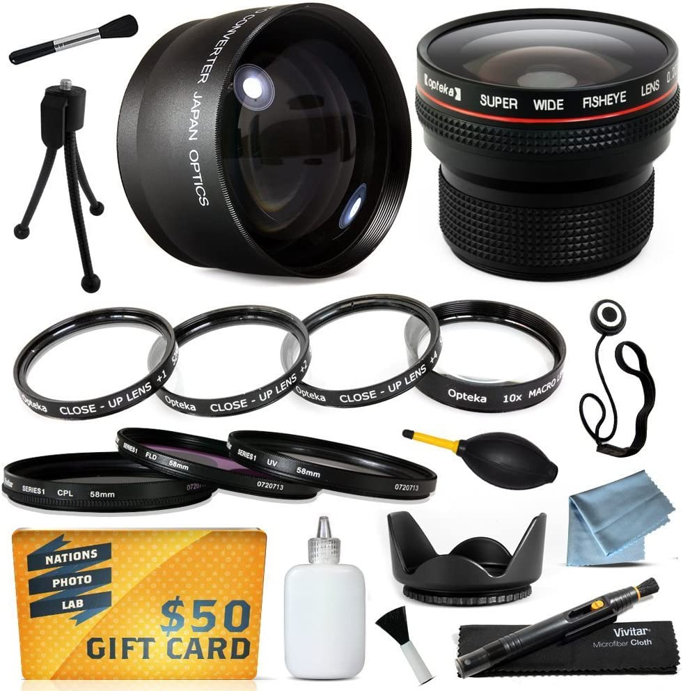 + 4 Piece Close UP Kit +1, +2, +4, 10x Macro Hood + .20x Professional Fish Eye Lens 2.2x HD Telephoto UV + CPL + Warming 15 Piece Macro Fisheye Telephoto Lens Filters Set includes 3 Piece Filter Kit More for JVC GC-PX100 GZ-HD3 GZ-HM400 GZ-HM1 GY