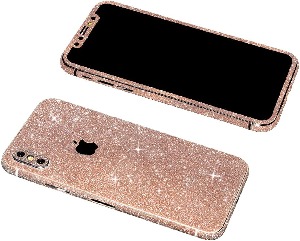 iPhone X Bling Skin Sticker, Supstar Full Body Coverage Glitter Vinyl Decal - Dustproof, Anti-Scratch for Apple iPhoneX 2018 (Champagne Gold)