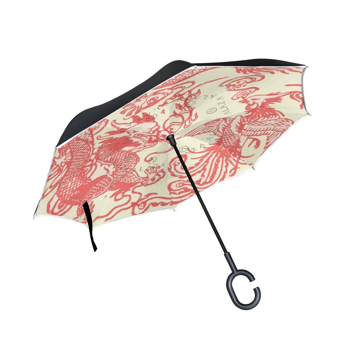 Orezi Double Layer Inverted Umbrellas逆傘車屋外の活動中に雨月ホット夏C型のハンドル、Chinoiserie Happy Dragon and Phoenix傘の女性   B07B2TXFD8