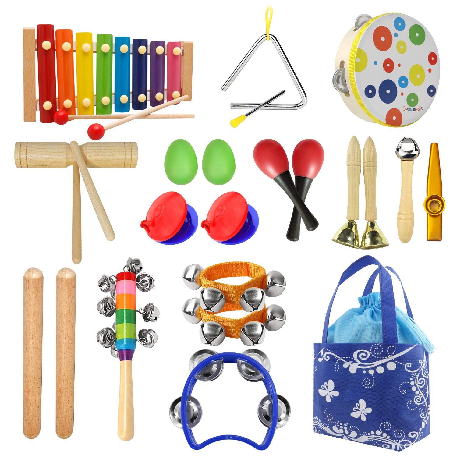 HuoBi Percussion Musical Instruments Toy Set,12Pcs/19Pcs Wooden Percussion Instruments Preschool Educational Toys Bells Egg Shaker with Carry Bag ,Great Party Favors Musical Toys Set for Kids (19pcs)