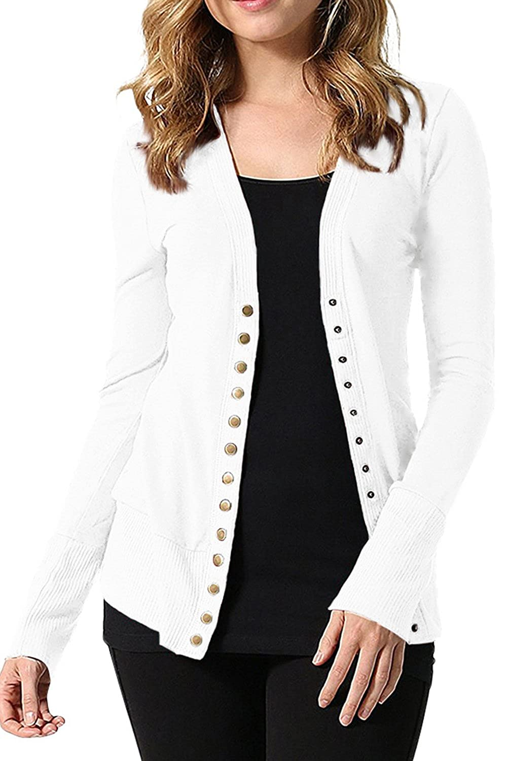 Jumojufol Women's Elegant Single Breasted Fit Slim Jacket Cardigan CATNHMQ14