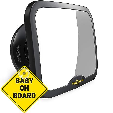 ROYAL RASCALS Espejo coche bebe asiento trasero - espejo retrovisor para vigilar al bebé en el coche - Se adapta a cualquier resposacabezas ajustable, ...
