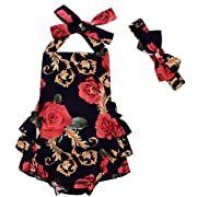 LOliSWan Baby Girl's Floral Print Ruffles Romper Summer Clothes With Headband (Black, 6-12 Months)