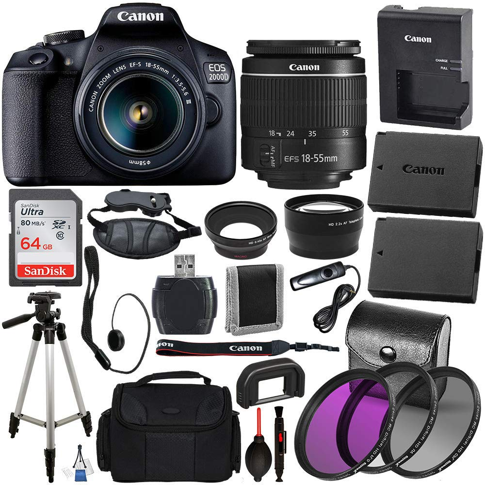 canon-eos-2000d-rebel-t7-digital-slr-camera-with-18-55mm-dc-iii-lens-kit-black-professional-accessory-bundle-package-includes-sandisk-ultra-64gb-sdxc-memory-card-50-tripod-filters