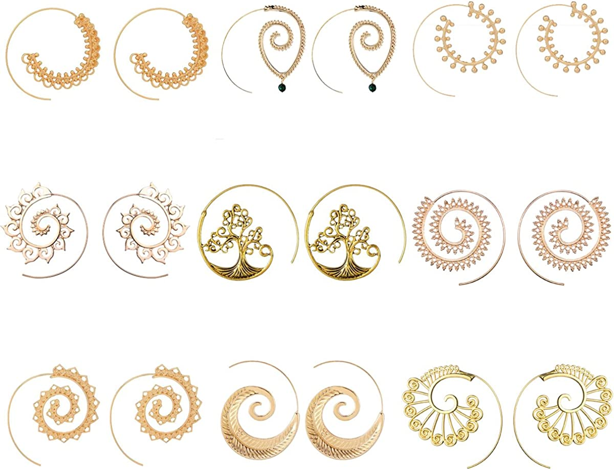 9 Pairs Gold/Silver Bohemian Vintage Tribal Swirl Spiral Statement Hoop Earrings Set For Women