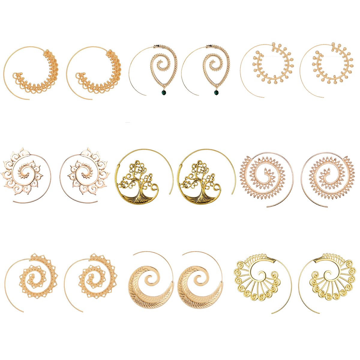 9 Pairs Golden Bohemian Vintage Tribal Swirl Spiral Hoop Earrings Set For Women (golden)