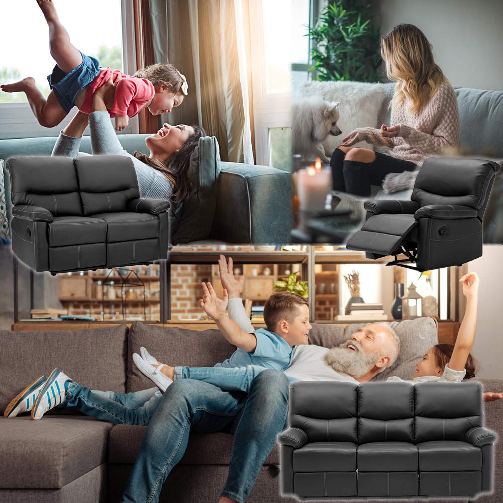 Recliner Sofa Leather Set 3 PCS Motion Sofa Loveseat Recliner Leather Sofa Recliner Couch