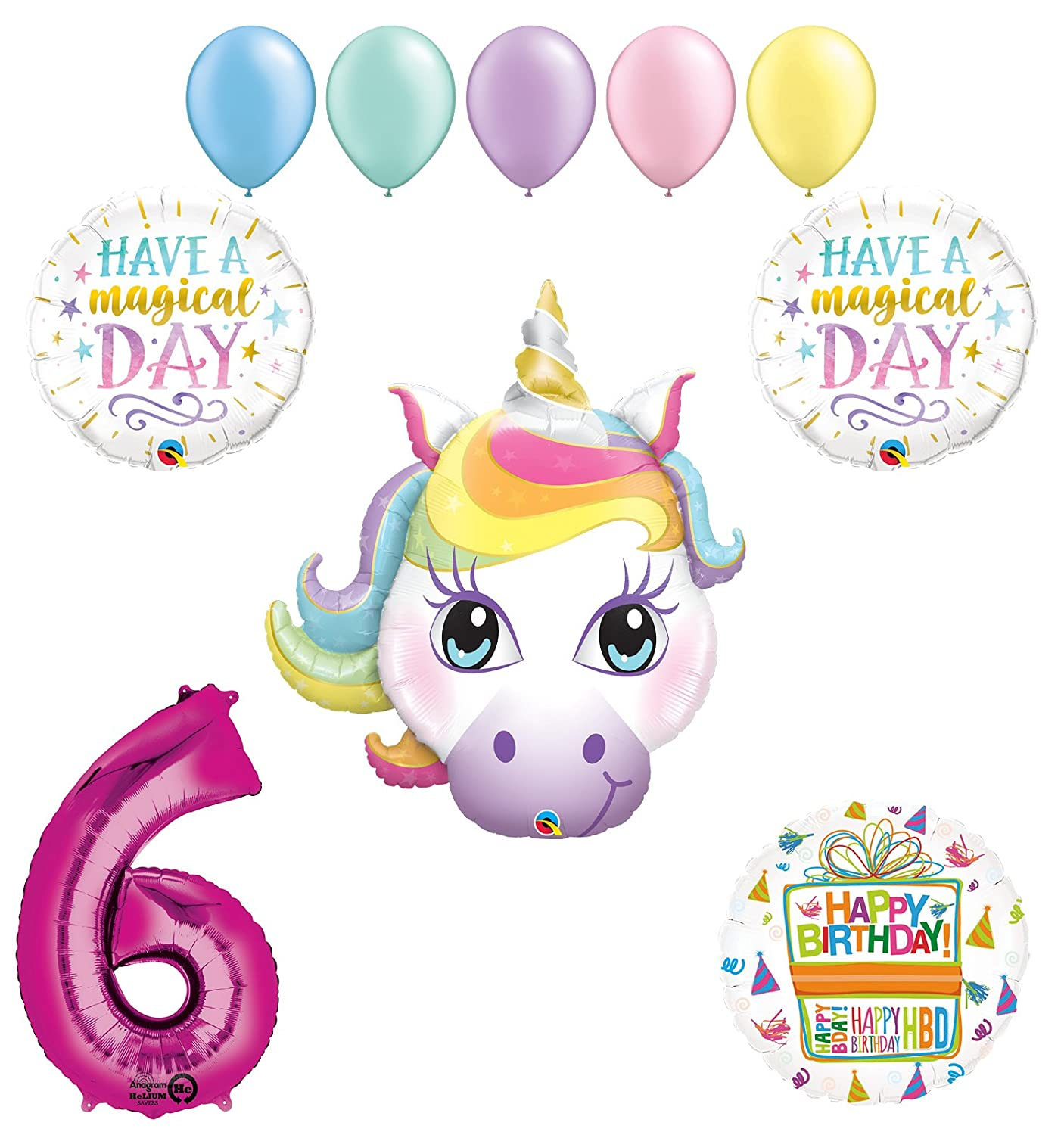 Magical Unicorn 6th Birthday Party Supplies and Balloon Decorations Mayflower