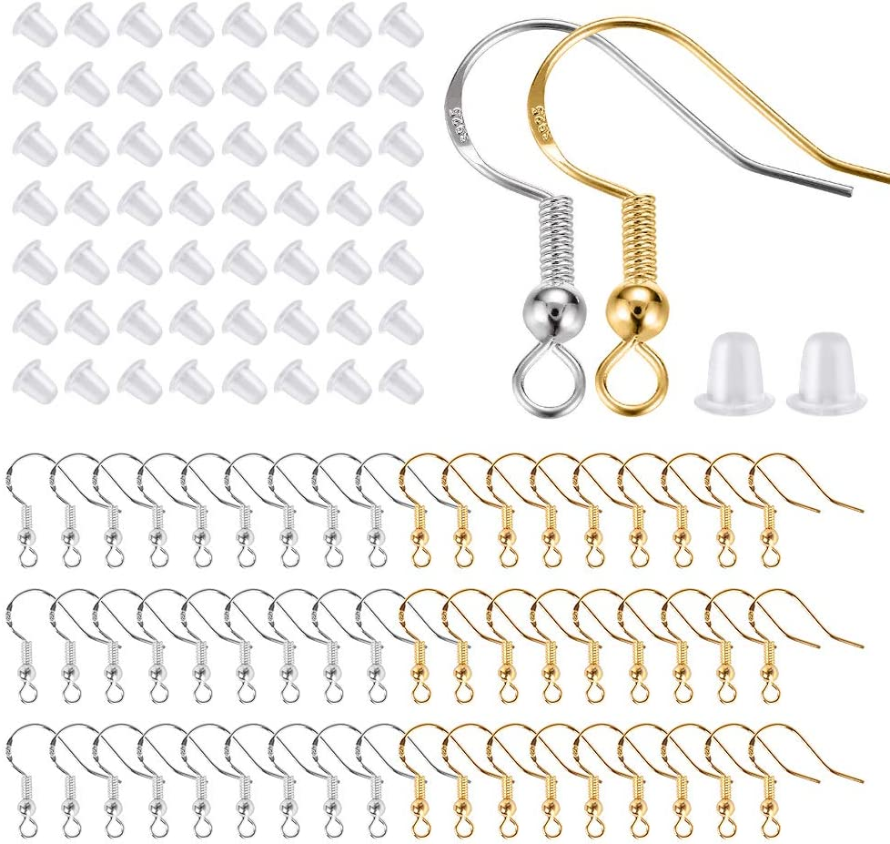 Jewelry Making Supplies Earring Hooks,100/% 925 Sterling Gold Hypoallergenic Fish Hooks with Earring Backs Rubber Findings 100pcs for DIY Earring Hooks for Jewelry Making Gold