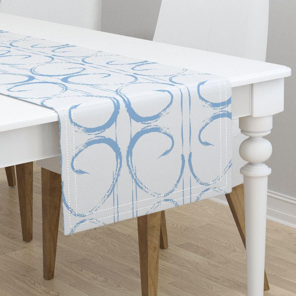 Table Runner - Baby Boy Blue Geometric Boys Nursery Fabric Spa by Jenlats - Cotton Sateen Table Runner 16 x 72