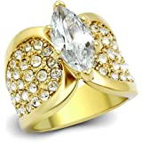 ISADY - Sohalia - Damen Ring - 585er 14K Gold platiert - Zirkonium Transparent