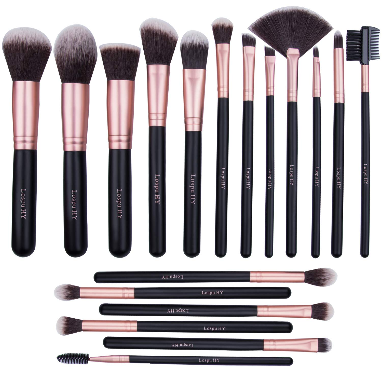Lospu HY Makeup Brushes 18 Piece Makeup Brush Set Professional Wood Handle Premium Synthetic Kabuki Foundation Blending Face Powder Blush Concealer Contour Eyeshadow Makeup Brush Brochas De Maquillaje