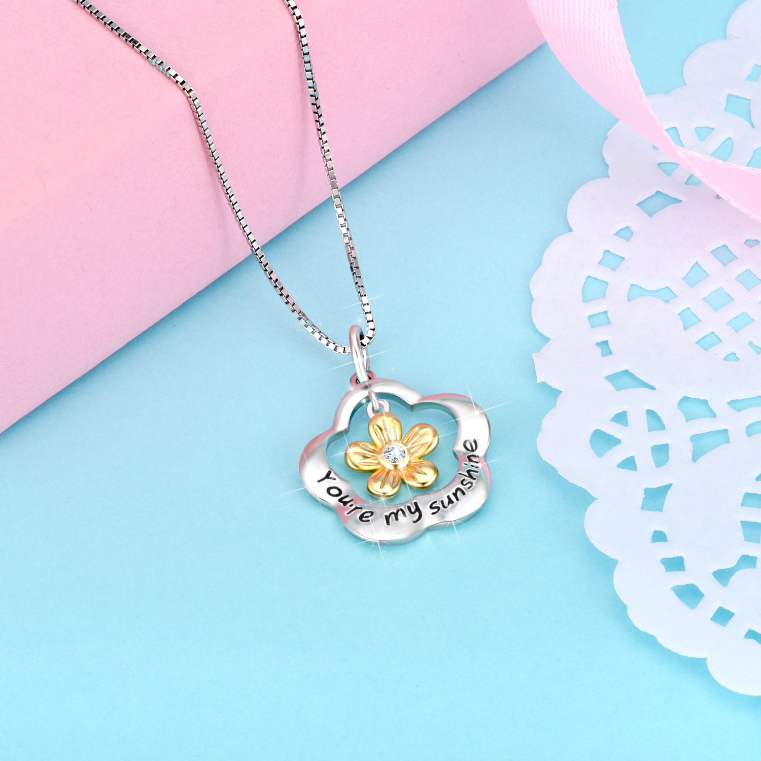 POPLYKE You are My Sunshine Sterling Silver Sunflower Pendant Necklace Gifts for Women Girls by POPLYKE (Image #3)