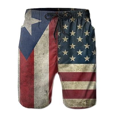 5c1de1834b xj USA Puerto Rico Flag Combo Men's Summer Beach Quick-Dry Surf Swim Trunks  Boardshorts Cargo Pants