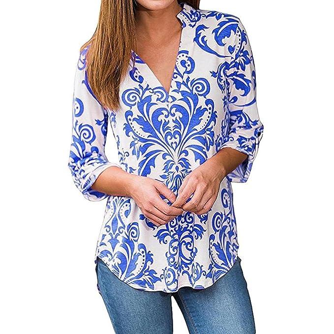 SHOBDW V-Collar Chocker de Blusas de mujeres de otoño atractivas del impresión de la