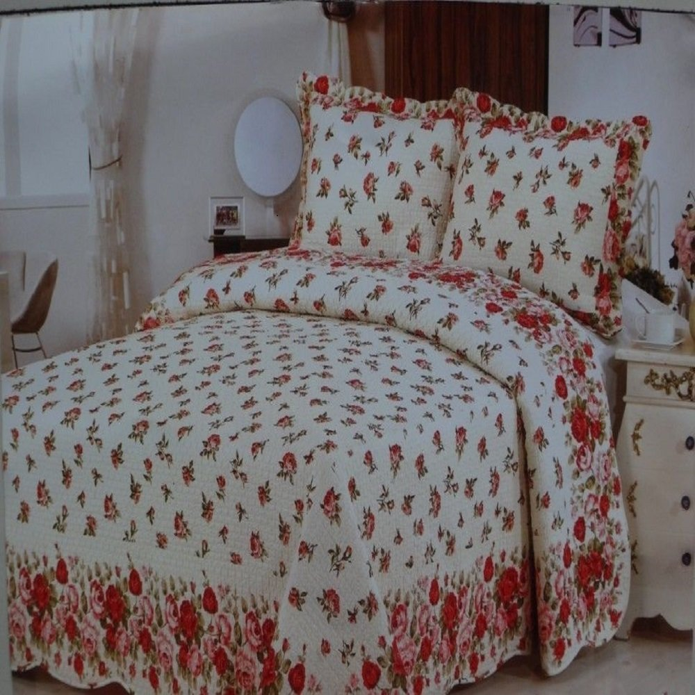 Ramano Collection King Size Quilt Set 100% Cotton 3 PC Bedding Coverlet Set (Coverlet Flowers)