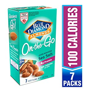 Blue Diamond Almonds, Oven Roasted with Sea Salt, 100 Calorie On-The-Go Bags 7 count of 0.6Oz (Pack Of 6)