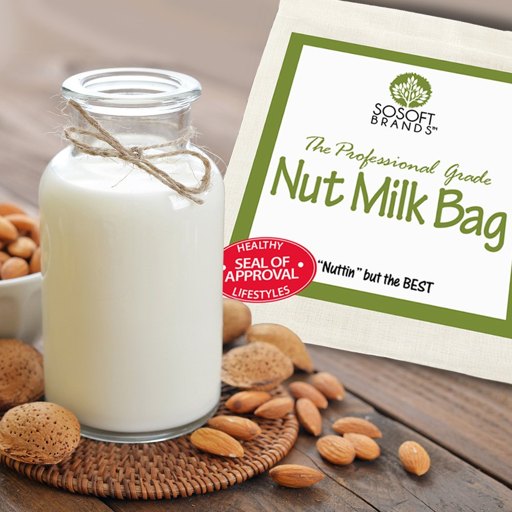 Sosoft marcas Nut Milk Bag - grande 12 en x12In profesional grado - reutilizable de almendro en leche bolsa y multiusos colador - Malla Fina nailon Estameña ...
