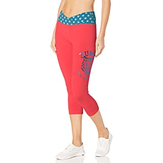 Zumba Athletic Fashion Print Capri Fitness Workout Leggings for Women with Breathable Mesh Panels