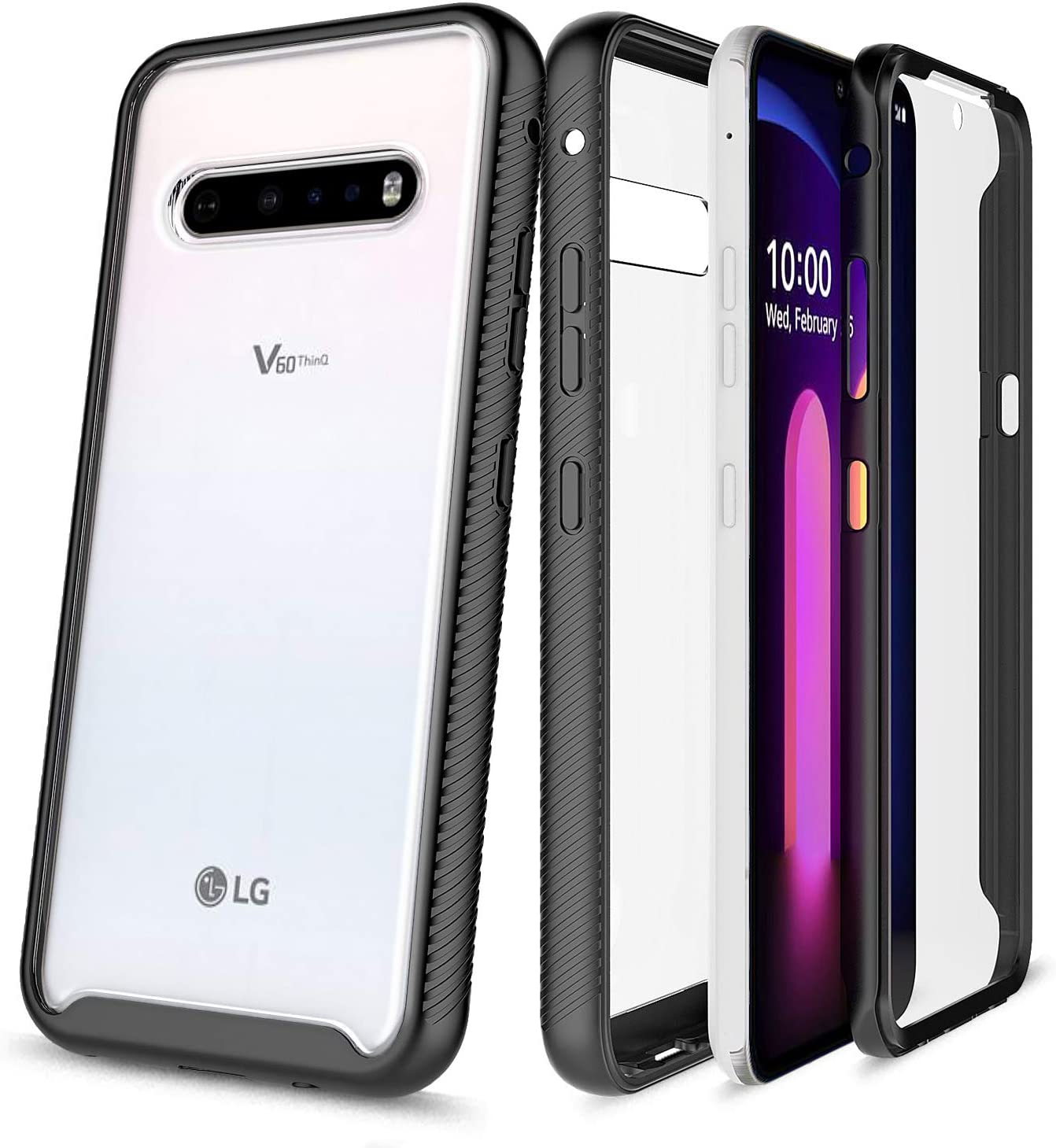 E-Began Phone Case for LG V60 ThinQ, LG V60 ThinQ 5G (2020 Release), Full-Body Protective Rugged Bumper Cover with Built-in Screen Protector, Shockproof Impact Resist Durable Case -Black