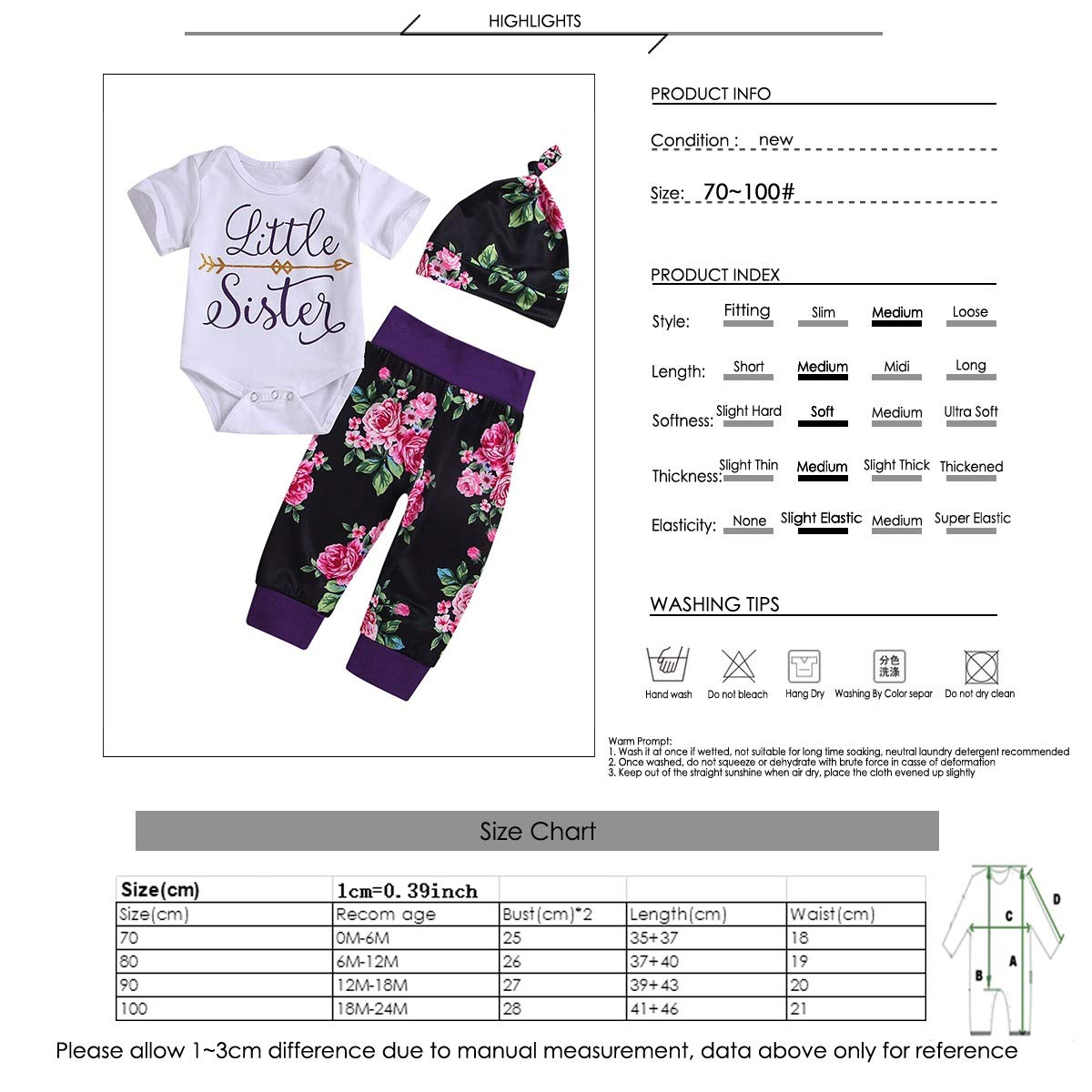3pcs Baby Kid Sister Ropa Familiar Camiseta de Manga Corta//Romper Sombrero//Diadema para Big Sister y Small Sister Color : Little, Size : 6-12M Pantalones Florales