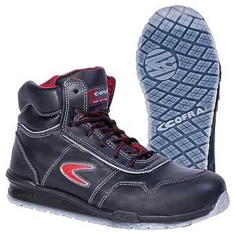 TALLA 42 EU. Cofra 78470-000 - Seguridad Botas Puskas correr, zapatos de seguridad S3, Cuero Negro, Tamaño 42, Negro
