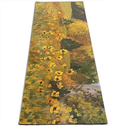 Amazon.com : MoralesLmat Sunflower Painting Print Yoga Mat ...