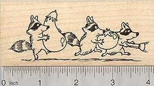 Garden Bandits Rubber Stamp, Raccoon Stealing Vegetables