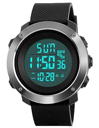Relojes Deportivo Digital Para Hombres Adolescentes y Niño Multifunción 50m Impermeable Cuenta Regresiva Dial Grande Militar LED Casual Reloj de Digital con ...
