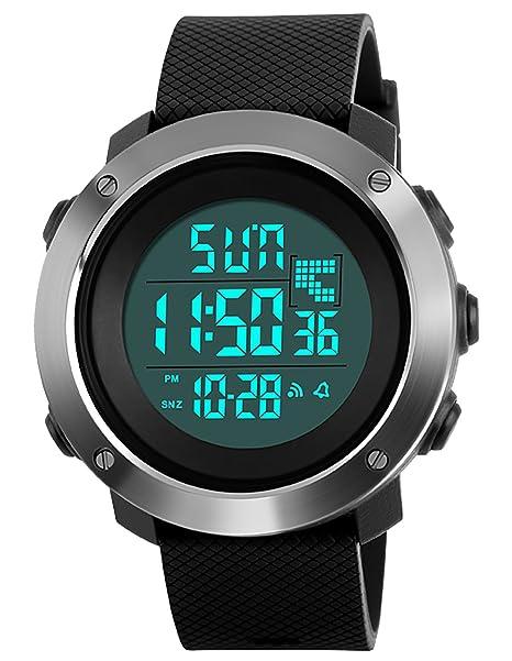 Herren Jugendliche Jungen Digital Sportuhr Männer Großes Gesicht 50M Wasserdicht Elektronisch Militär LED Digital Uhr mit Sto