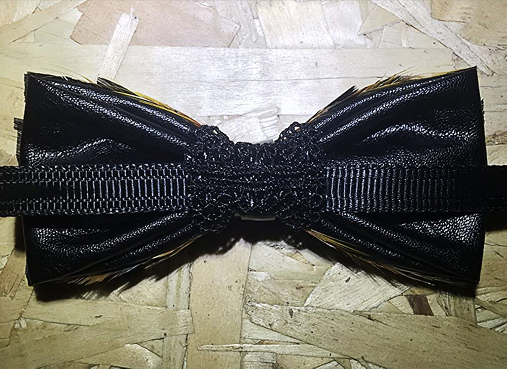Wsysnl Natural Feather Hand Made Bow Tie