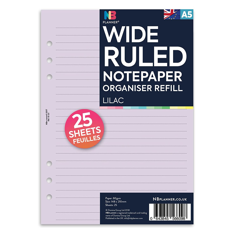 NBplanner/® ricarica di fogli per agenda compatibile con Filofax White in formato A5 fogli colorati a righe