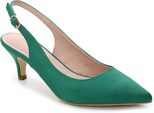 delicate colors on sale finest selection Amazon.com | ComeShun Womens Shoes Slingback Kitten Heels Closed ...