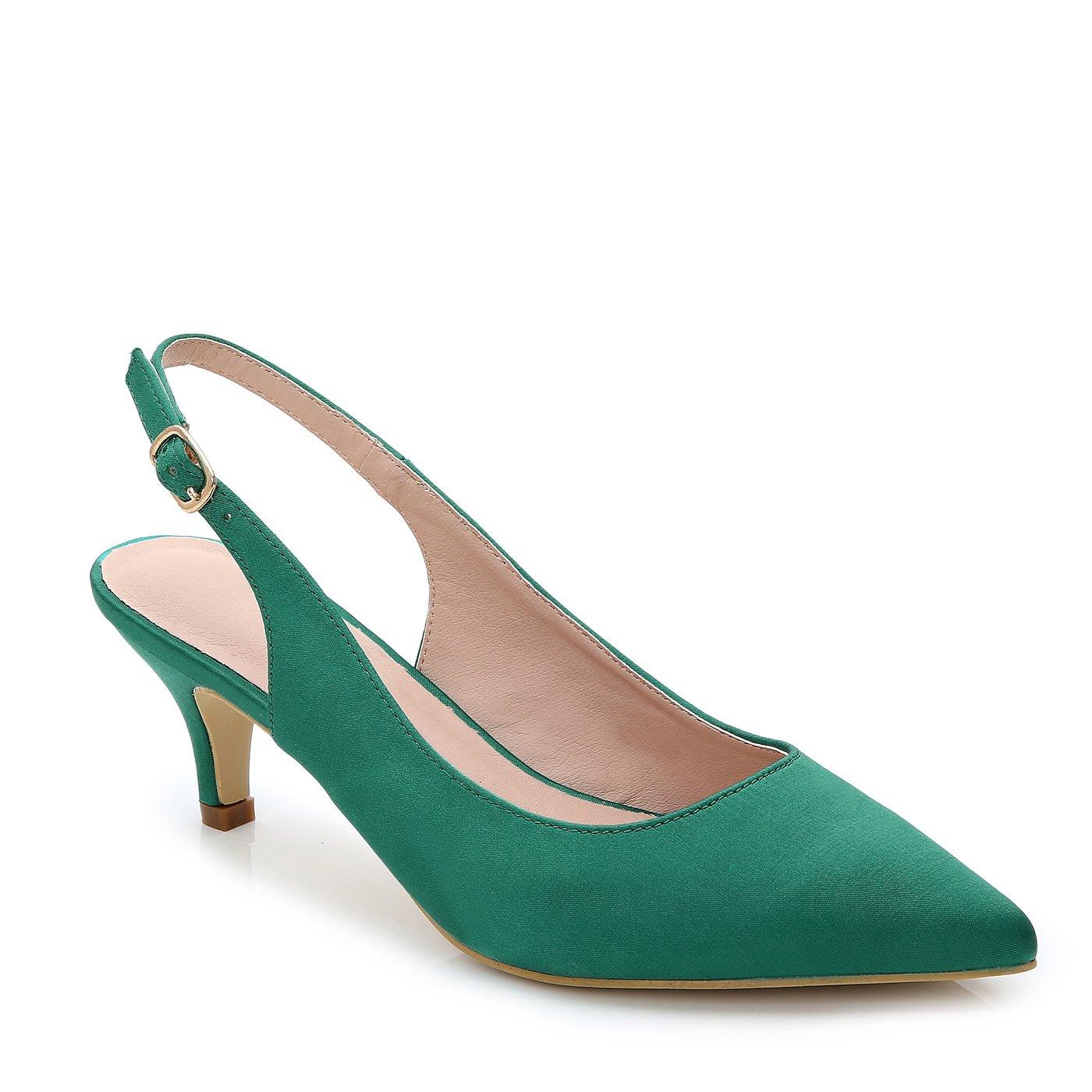ComeShun Green Womens Comfort Low Heels Adjustable Buckle Slip On Dress Pumps Shoes Size 10