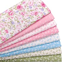 """Hanjunzhao Pink Blue Green Floral and Bowknot Fat Quarters Fabric Bundles,Cotton Quilting Fabric for Sewing Pillow Baby Dress Doll,8 Pcs 18"""" x 22"""" (2 Yards Total)"""
