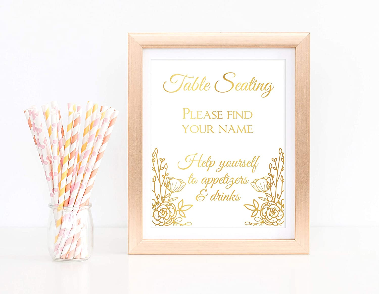 Unframed Cardstock with Real Foil Find Your Seat Wedding Sign Gold Foil Appitizers and Drinks Sign Reception Seating Decorations Party Table Botanical Flower Design