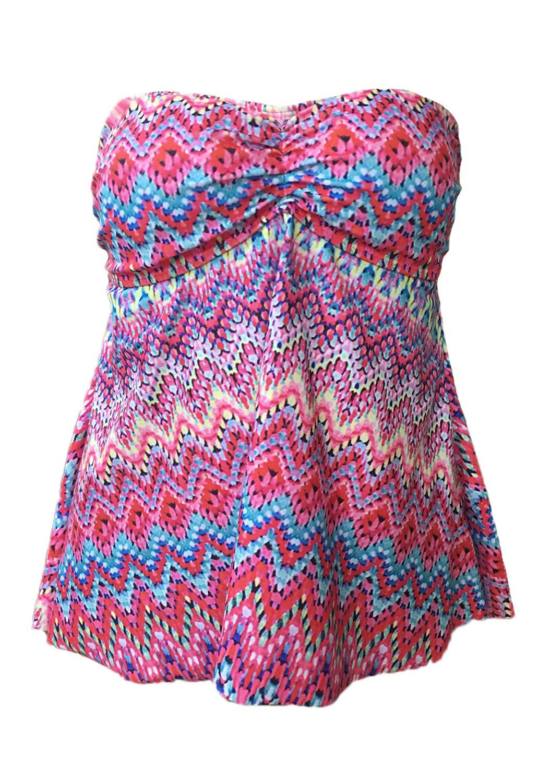 JadeRich Women's Plus Size Fashion Print Strapless 2-Pieces Tankini Sets,Pink,2XL