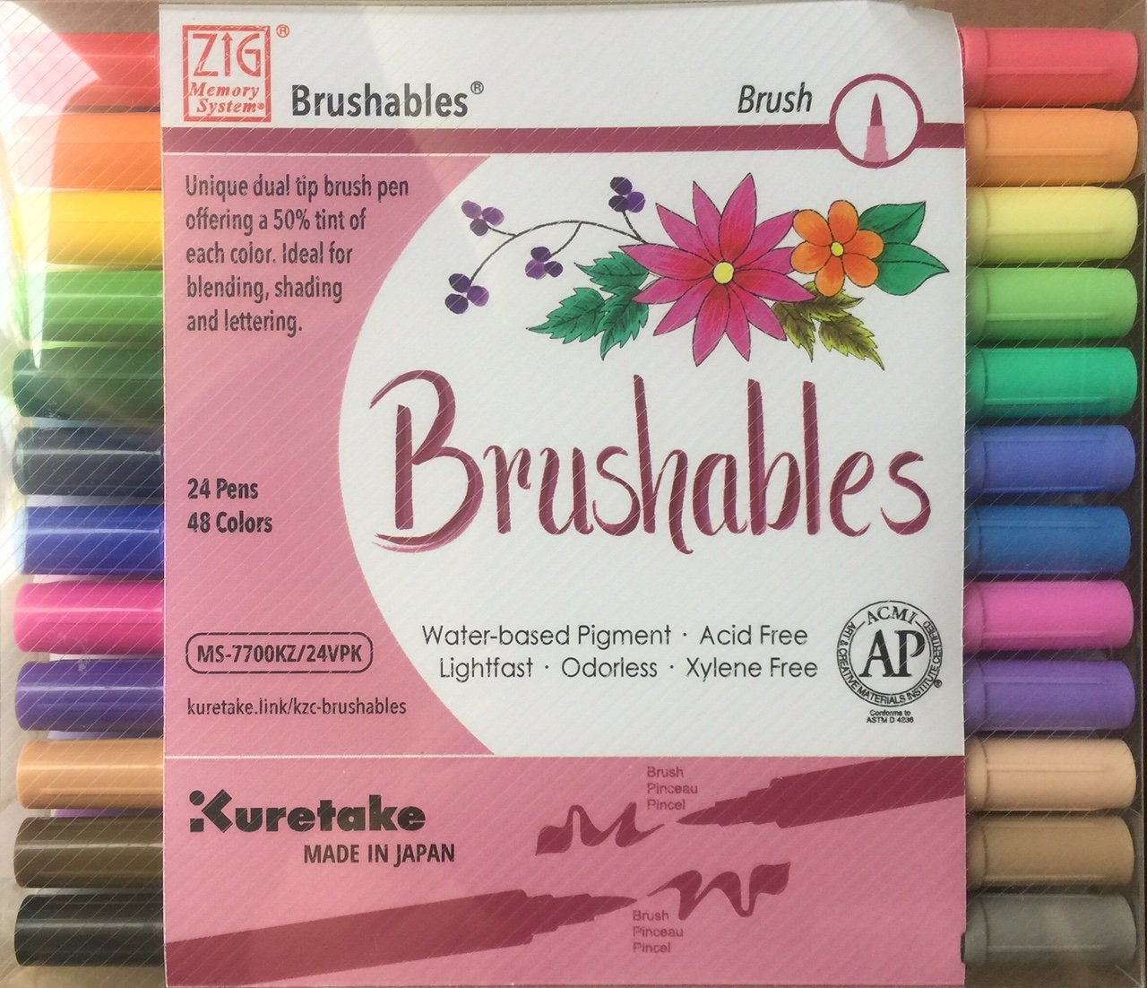 Kuretake Zig 24 Pack Brushables Dual Tip Brush Pens Color Marker by Zig