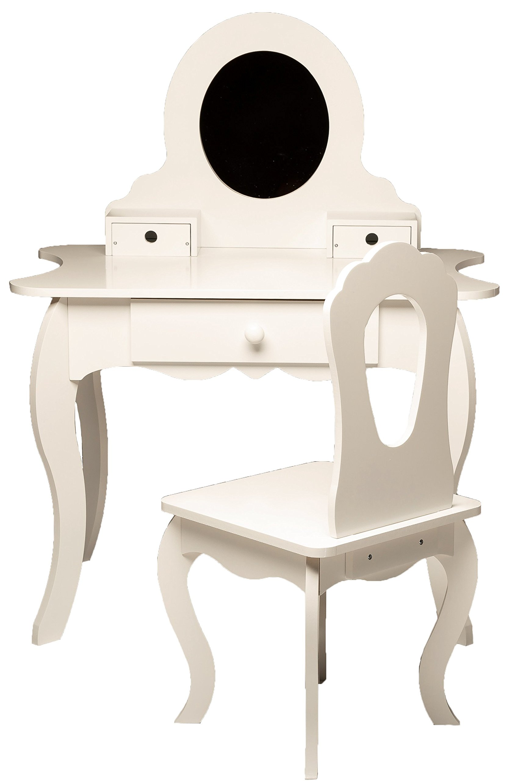 MMP Living Girls Vanity Set with Mirror, Storage and Chair - White by MMP Living