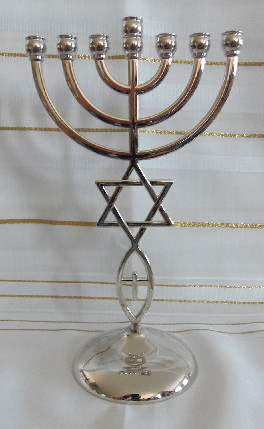 Jewish Messianic Temple Menorah 8.5 inches Tall by Bethlehem Gifts TM (Silver)