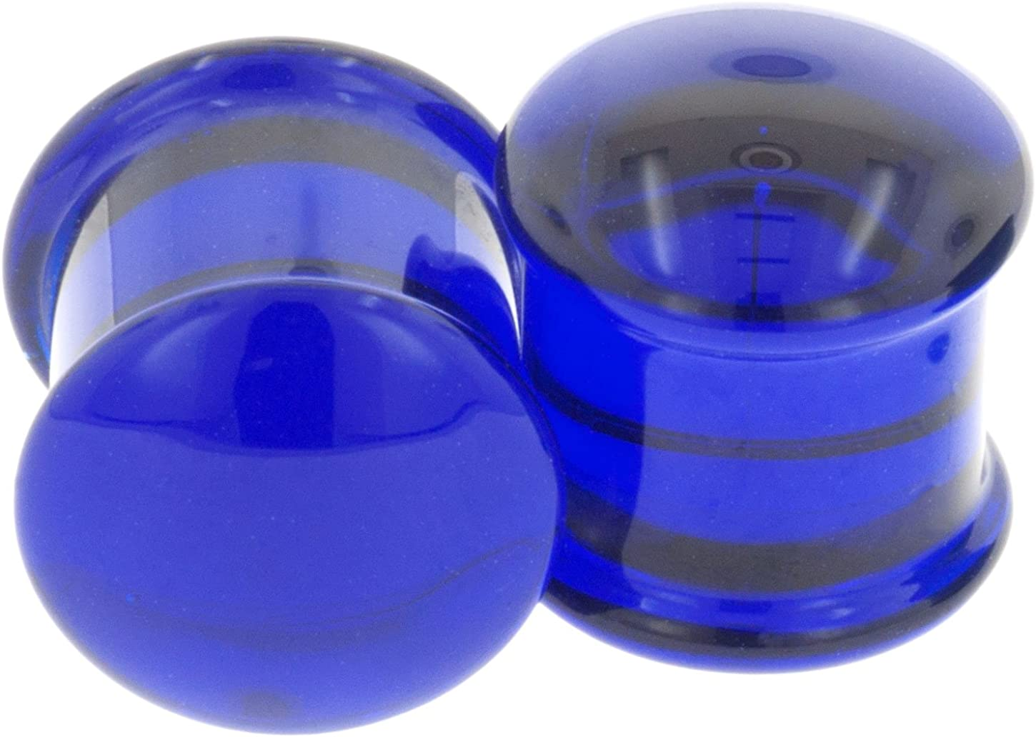 Pair of Glass Double Flared Solid Plugs 7//16 Cobalt